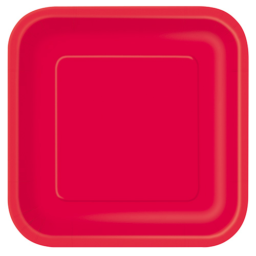 Ruby Red Square Paper Plates 22cm - Pack of 14 Product Image