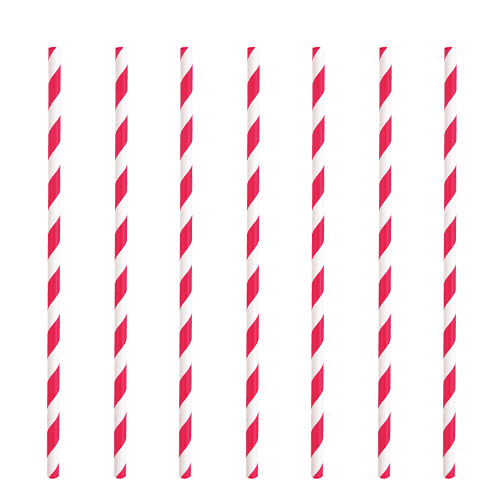 Ruby Red Striped Eco-Friendly Paper Straws - Pack of 10 Product Image