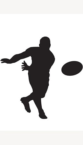 Rugby Player Ball Toss Silhouette PVC Lifesize Poster 182cm Product Image
