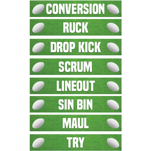 Rugby PVC Party Sign Decorations 60cm x 10cm - Pack of 8 Product Image