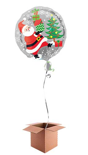 Santa Snowman and Penguins 2 Sided Round Foil Balloon - Inflated Balloon in a Box Product Image