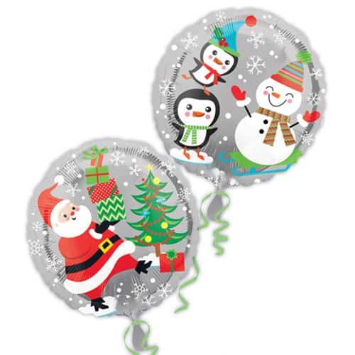 Santa Snowman and Penguins 2 Sided Round Foil Helium Balloon 43cm / 17Inch Product Image