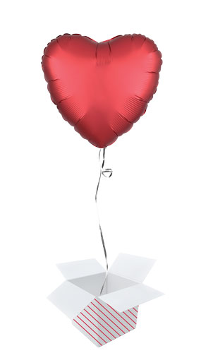 Sangria Red Satin Luxe Heart Shape Foil Helium Balloon - Inflated Balloon in a Box