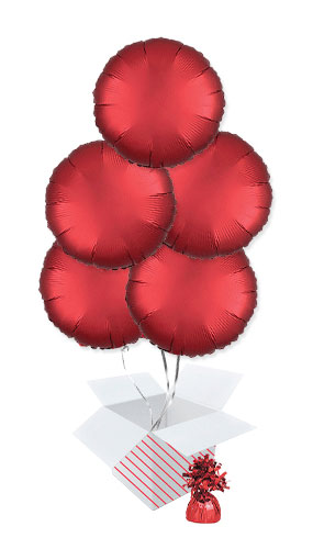 Sangria Red Satin Luxe Round Shape Foil Helium Balloon Bouquet - 5 Inflated Balloons In A Box Product Image