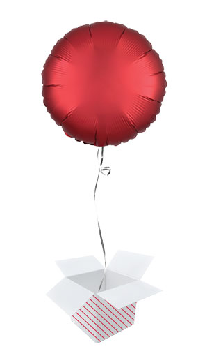Sangria Red Satin Luxe Round Shape Foil Helium Balloon - Inflated Balloon in a Box