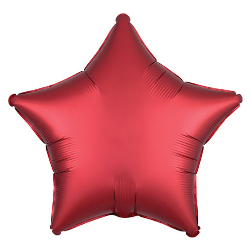 Sangria Red Satin Luxe Star Shape Foil Helium Balloon 48cm / 19 in