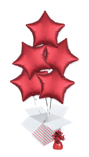 Sangria Red Satin Luxe Star Shape Foil Helium Balloon Bouquet - 5 Inflated Balloons In A Box Product Image