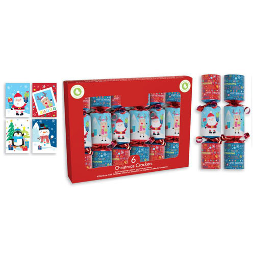 Santa & Friends Christmas Crackers 15cm / 6 in - Pack of 6