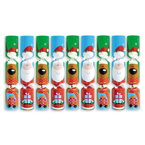 Santa & Friends Christmas Crackers 20cm / 8 in - Pack of 9