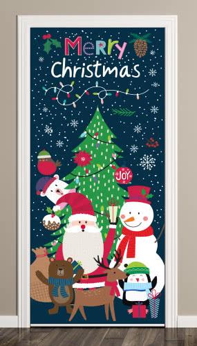 Santa And Friends Christmas Door Cover PVC Party Sign Decoration 66cm x 152cm