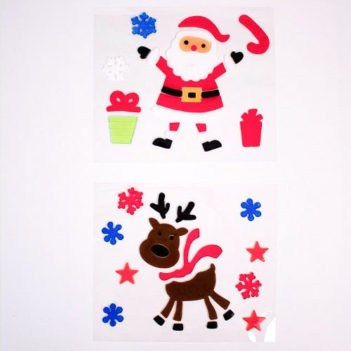 Assorted Santa & Reindeer Gel Stickers Window Decorations