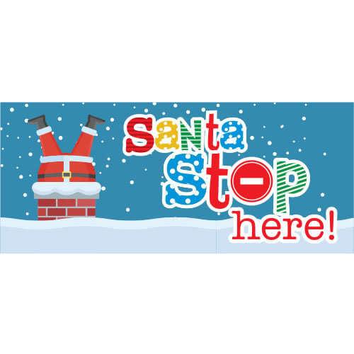 Santa Stop Here Chimney Christmas PVC Party Sign Decoration 60cm x 25cm