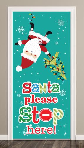 Santa Please Stop Here Christmas Lights Door Cover PVC Party Sign Decoration 66cm x 152cm