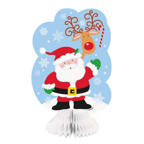 Santa Honeycomb Table Centrepiece Decoration 20cm - Pack of 3 Product Image