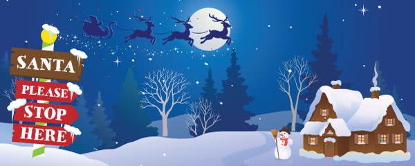 Santa Please Stop Here Christmas Design Medium Personalised Banner - 6ft x 2.25ft