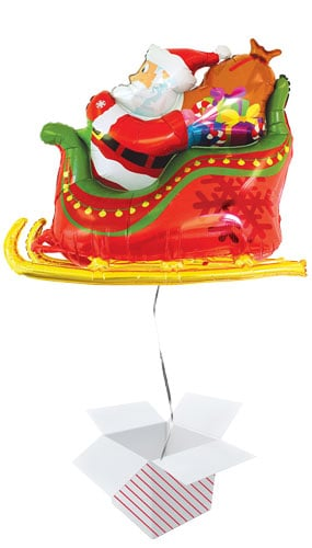 Santa Sleigh Christmas Helium Foil Giant Balloon - Inflated Balloon in a Box Product Image