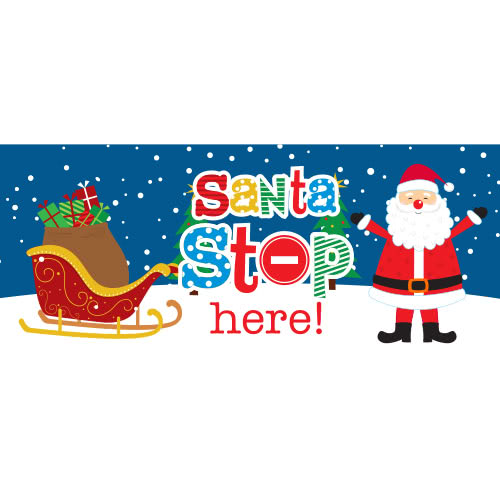 Santa Stop Here Sleigh Christmas PVC Party Sign Decoration 60cm x 25cm Product Image
