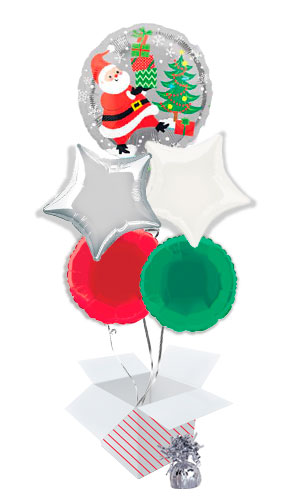 Santa Snowman and Penguins Balloon Bouquet - 5 Inflated Balloons In A Box Product Image