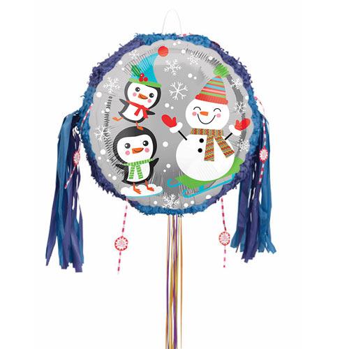 Santa Snowman and Penguins Pull String Pinata