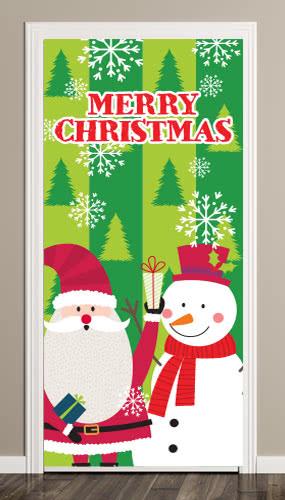 Santa And Snowman Christmas Door Cover PVC Party Sign Decoration 66cm x 152cm