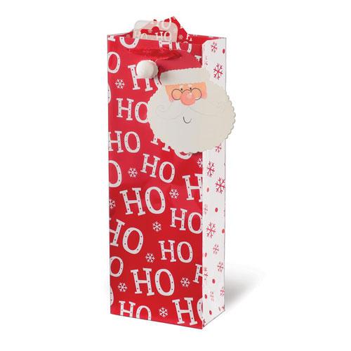 Santa Text Christmas Bottle Gift Bag 36cm