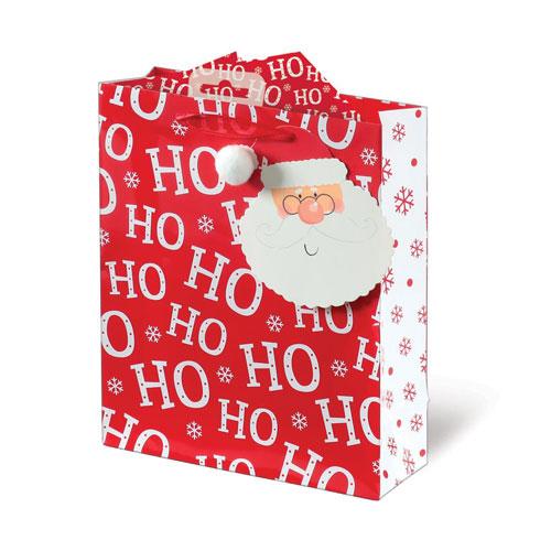 Santa Text Christmas Medium Gift Bag 26cm