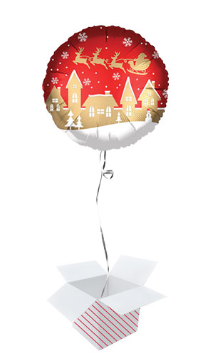 Santa Village Satin Infused Christmas Round Foil Helium Balloon - Inflated Balloon in a Box