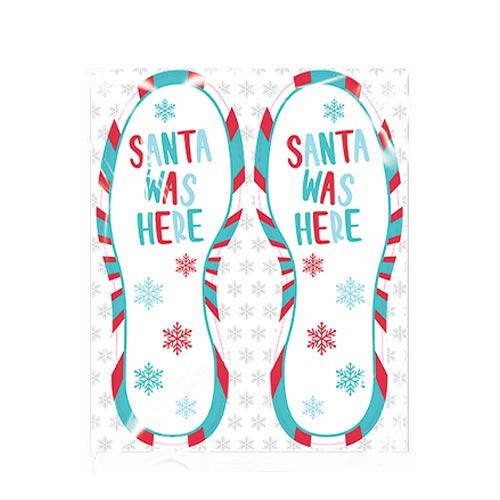 Santa Was Here Footstep Christmas Floor Stickers - Pack of 4