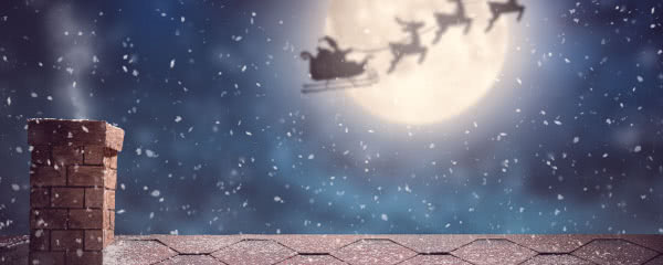 Santa With Sleigh Christmas Design Small Personalised Banner - 4ft x 2ft