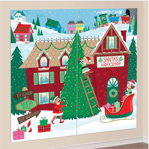 Santa's Workshop Scene Setter Add-On Wall Decorating Kit Christmas Backdrop