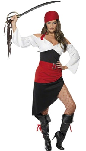 Sassy Pirate Wench Costume Medium Ladies Fancy Dress