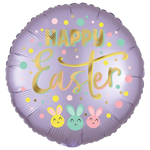 Satin Infused Bunny Trio Easter Round Foil Helium Balloon 45cm / 18 in Product Image