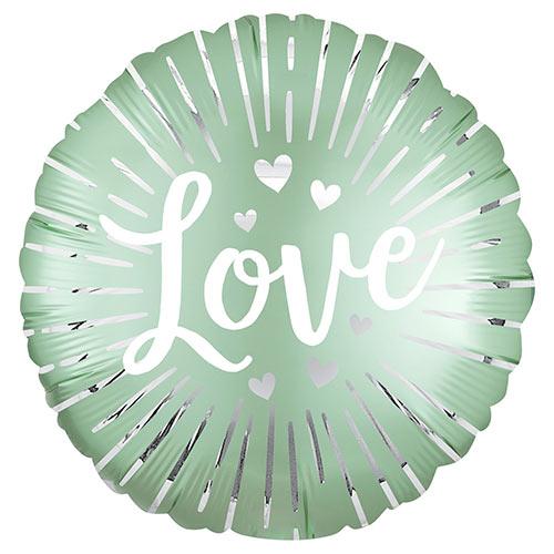 Satin Love Burst Round Foil Helium Balloon 45cm / 18 in Product Image