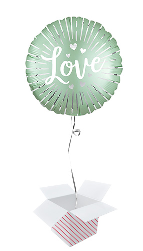 Satin Love Burst Round Foil Helium Balloon - Inflated Balloon in a Box Product Image