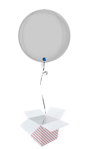 Satin White 4D Large Globe Foil Helium Balloon - Inflated Balloon in a Box