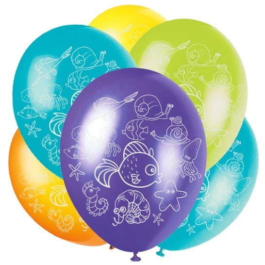Sea Creatures Latex Balloons - 30cm - Pack of 6 Product Image