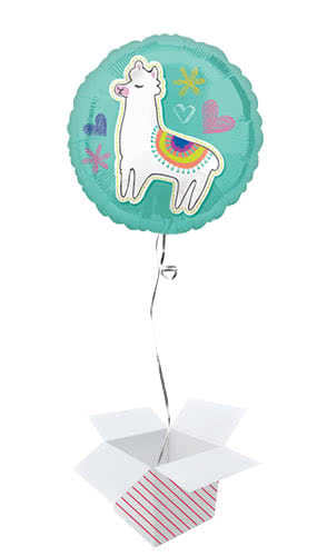 Selfie Celebration Llama Round Foil Helium Balloon - Inflated Balloon in a Box Product Image