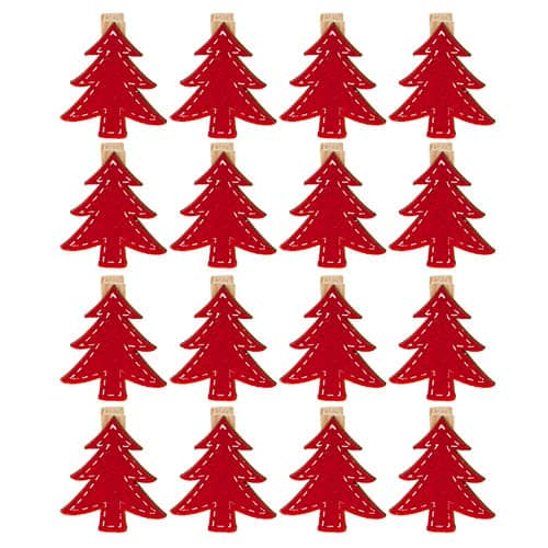 Christmas Tree Shaped Card Pegs - Pack of 16 Product Image