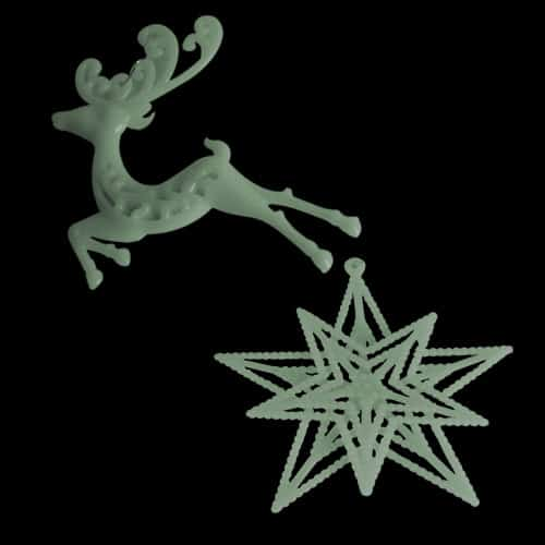 Assorted Glow In The Dark Tree Decorations - Pack of 2