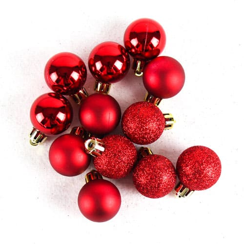 Assorted Christmas Red Baubles - Pack of 24 Product Image
