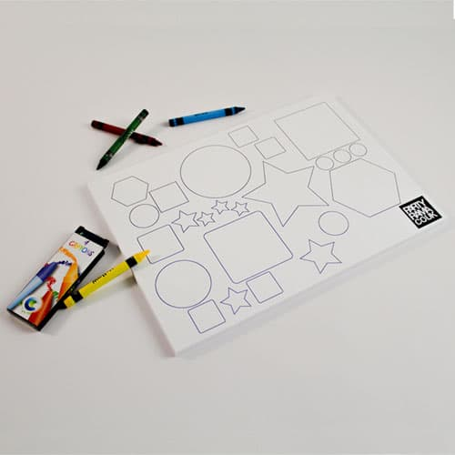 Shapes And Colours Themed A4 Colouring sheet With 4 Crayons Product Image