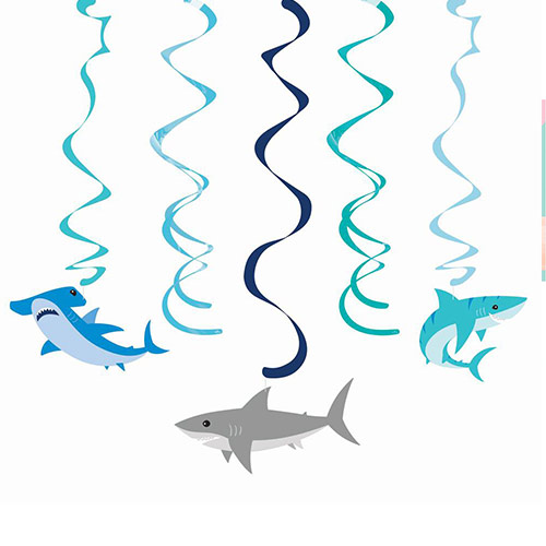 Shark Party Dizzy Danglers Swirl Hanging Decorations - Pack of 5 Product Image