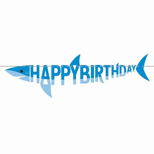 Shark Party Shaped Happy Birthday Cardboard Banner 170cm