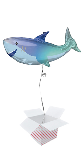 Shark Shaped Helium Foil Giant Balloon - Inflated Balloon in a Box Product Image
