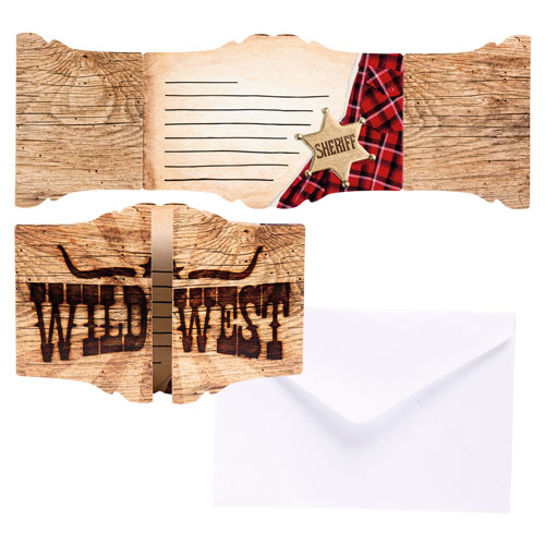 Sheriff Wild West Invitations with Envelopes - Pack of 6