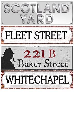 Sherlock Holmes PVC Party Sign Decorations 60cm x 15cm - Pack of 4 Product Image