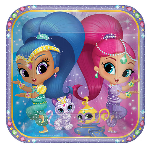 Shimmer And Shine Square Paper Plates 23cm - Pack of 8