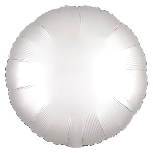 Shimmering White Satin Luxe Round Shape Foil Helium Balloon 43cm / 17 in