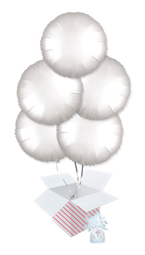 Shimmering White Satin Luxe Round Shape Foil Helium Balloon Bouquet - 5 Inflated Balloons In A Box Product Image