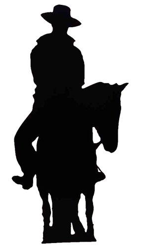 Silhouette Cowboy on Horse Lifesize Cardboard Cutout - 188cm